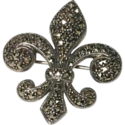 Vintage Sterling Silver Marcasite Fleur D Lis Brooch Pendant