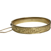Vintage 12 K Gold Filled Hinged Bangle Bracelet