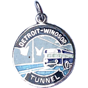 Vintage Sterling Silver Enameled Detroit Windsor Tunnel Charm