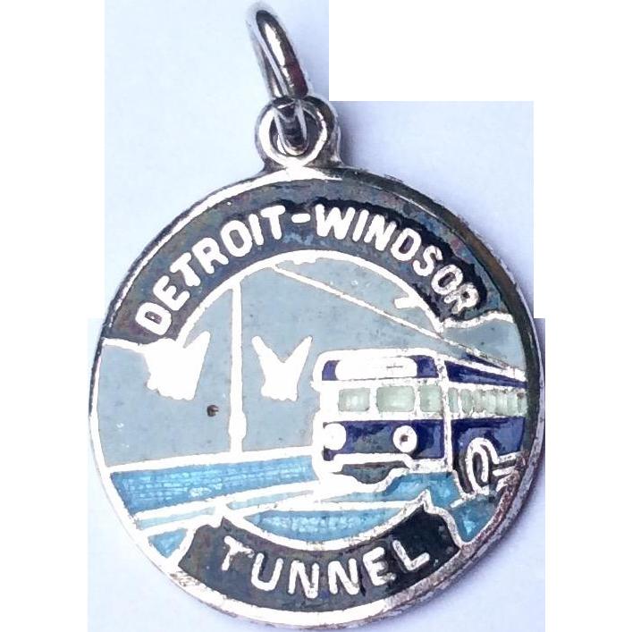 Vintage Sterling Silver Enameled Detroit Windsor Tunnel Charm