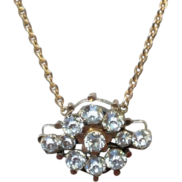 Beautiful Victorian Gold Filled Large Sparkling Paste Brooch Conversion Necklace