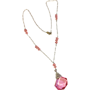 Vintage Sterling Silver Art Deco Czech Faceted Pink Glass Pendant Necklace