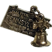 Vintage Sterling Silver State Of Pennsylvania Charm With Attached Liberty Bell
