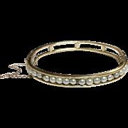 Vintage Gold Filled Faux Pearl Bangle Bracelet