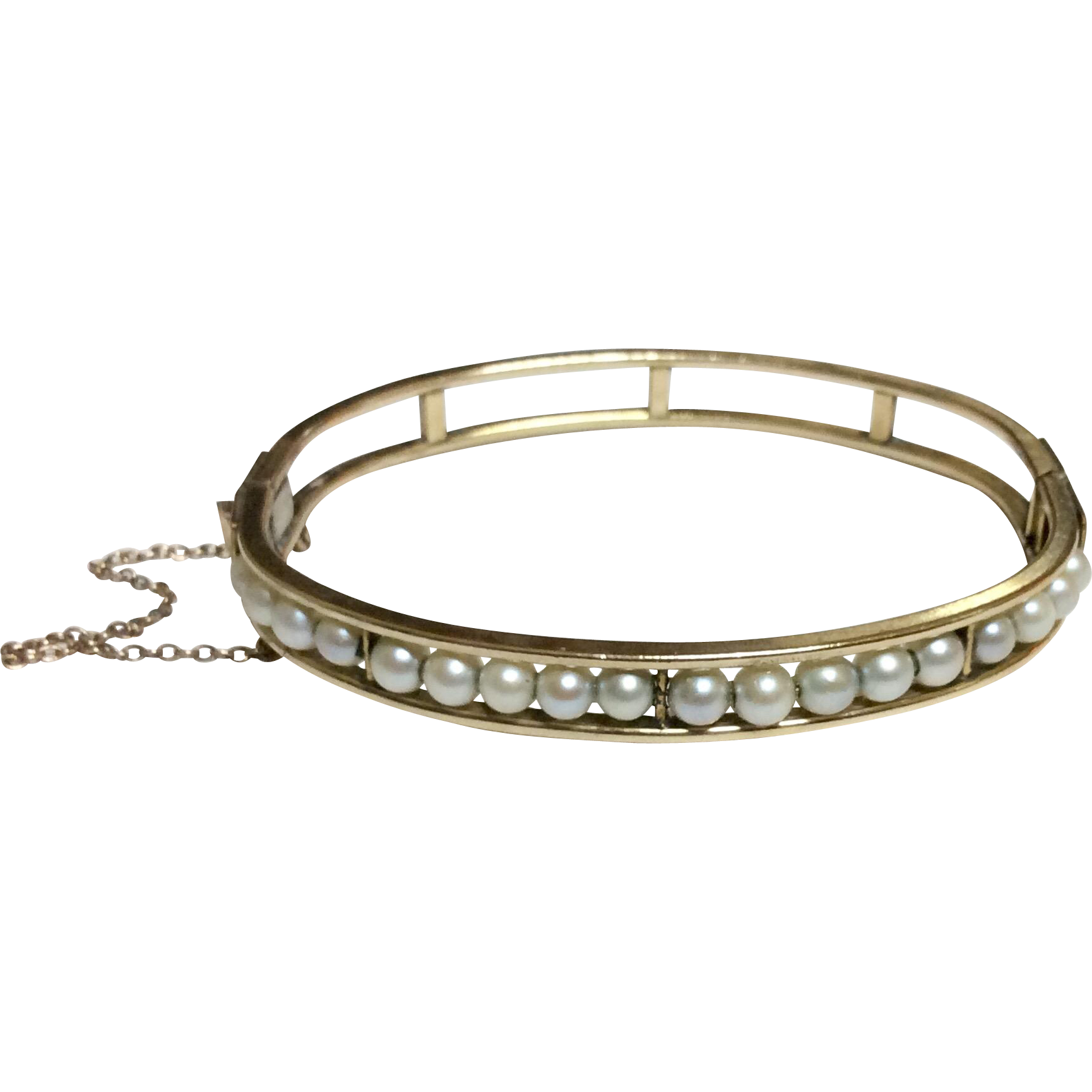 Vintage Gold Filled Cultured Pearl Bangle Bracelet