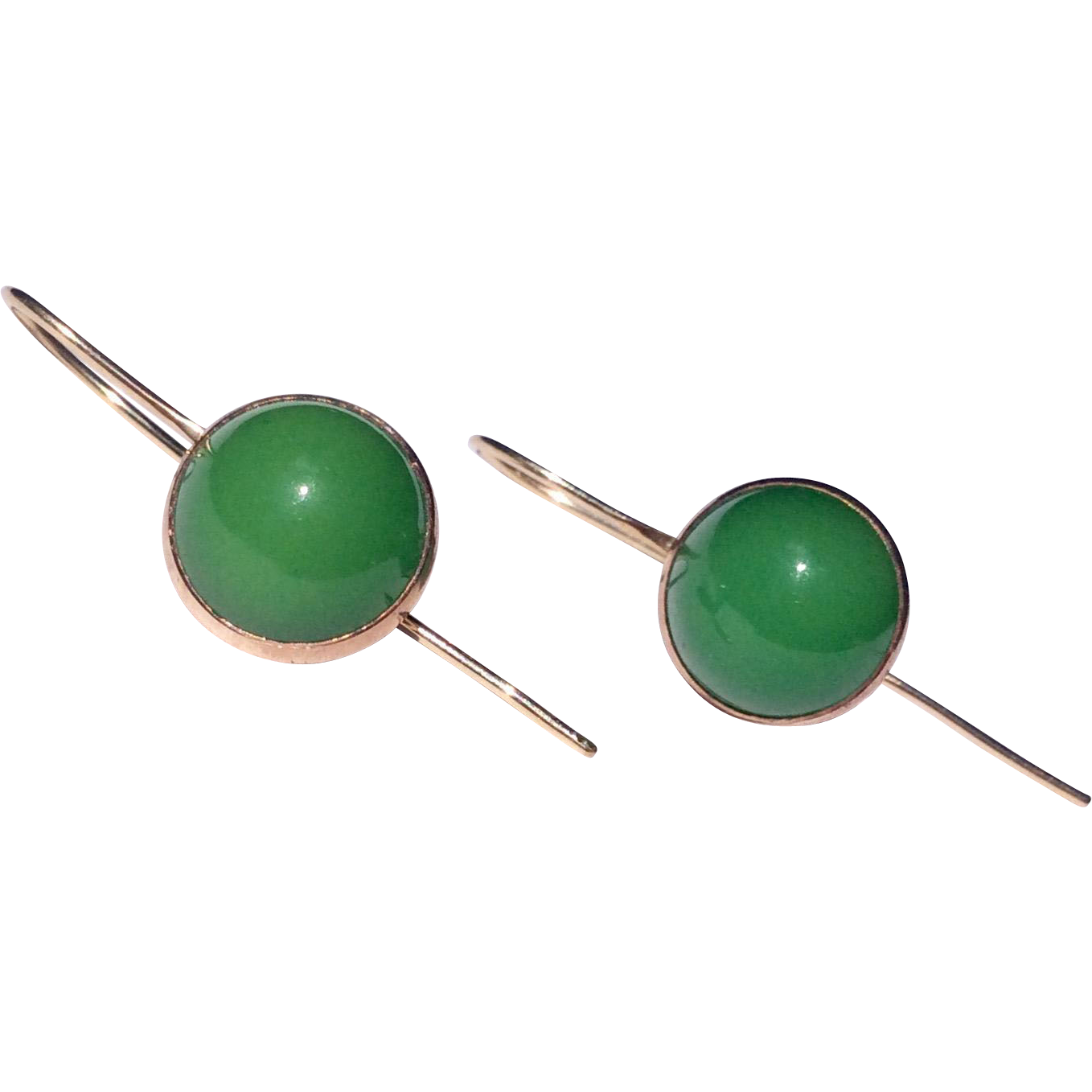 Vintage Gold Filled Emerald Green Glass Earrings