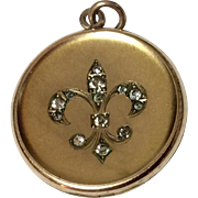 Vintage Gold Filled Paste Fleur d Lis Photo Locket