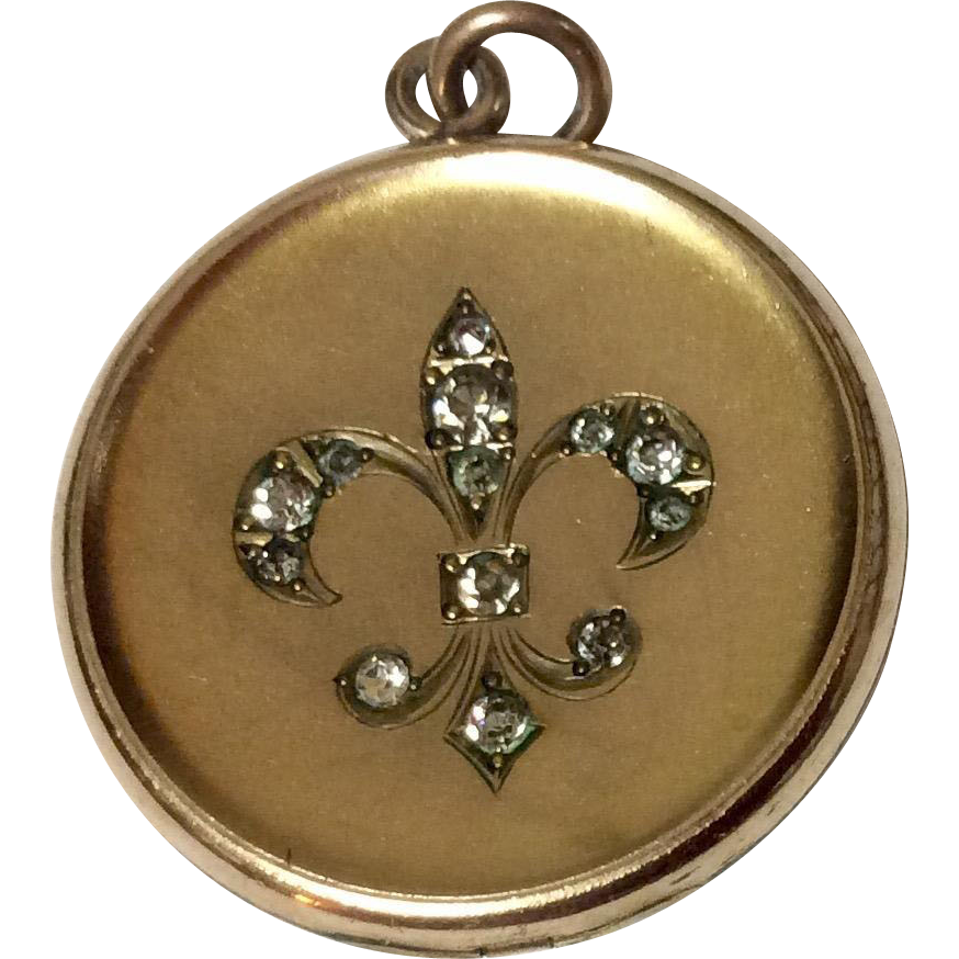 Antique  W & H Co. Gold Filled Paste Fleur d Lis Photo Locket