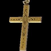 Vintage 12 K Gold Filled Etched Cross