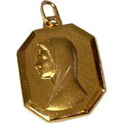 Vintage 18 K Gold Catholic Medal Mary & Lourdes Grotto