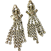 Wonderful Vintage Large Dangling Rhinestone Waterfall Earrings