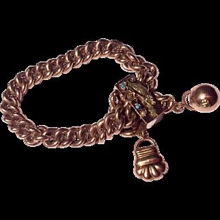 Fabulous Antique Victorian 14 K Gold Seed Pearl & Turquoise Large Slide Bracelet