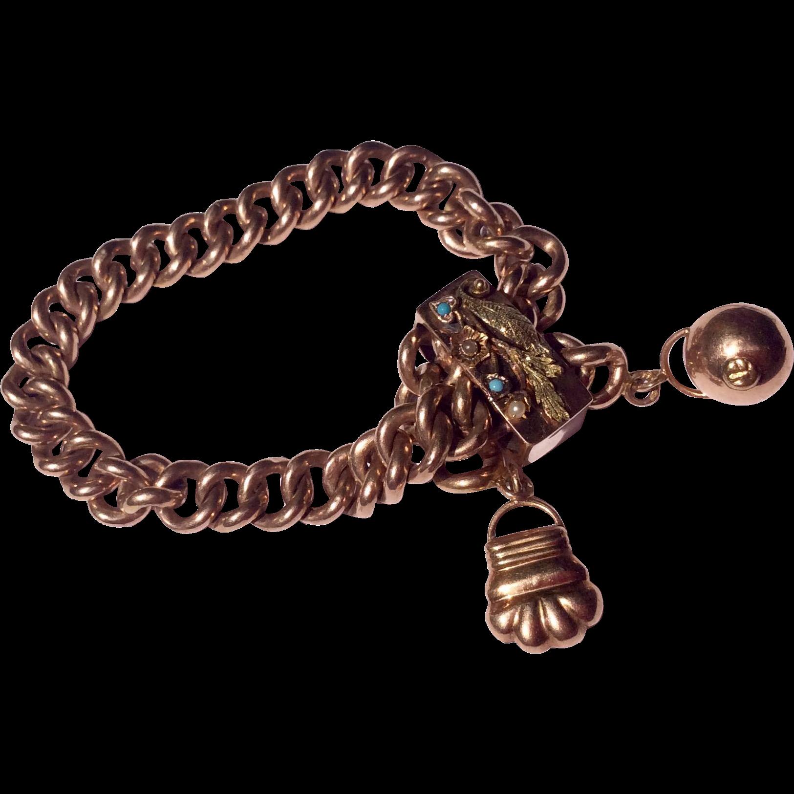 Fabulous Antique Victorian 14 K Gold & Turquoise Large Slide Bracelet