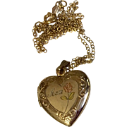 Vintage Gold Filled Heart Locket & Chain