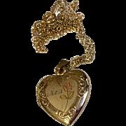 Vintage Gold Filled Heart Locket & Chain