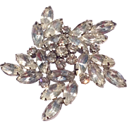 Vintage Sparkling Clear Crystal Rhinestone Rhodium Plated Large Brooch