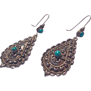 Vintage Early Mexican Sterling Silver Turquoise Dangle Earrings