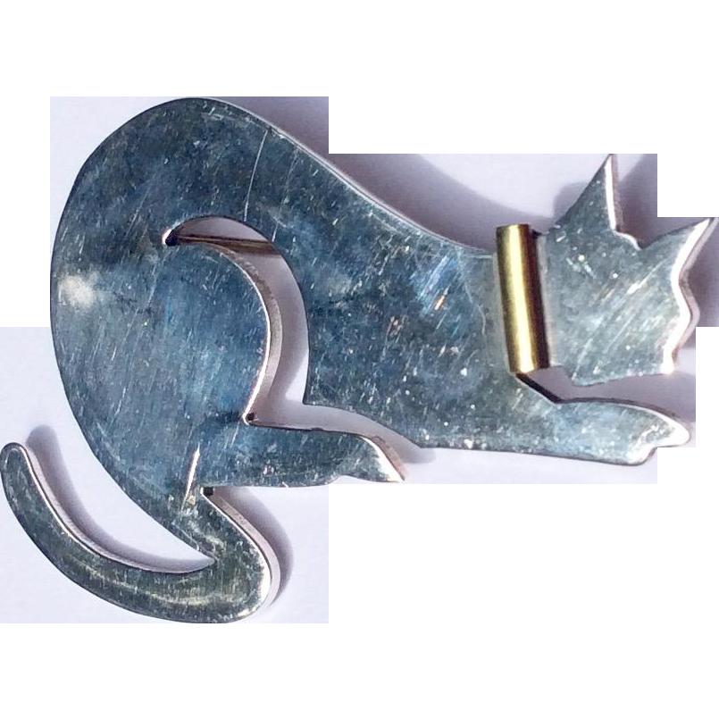 Vintage Sterling Silver Cat Brooch