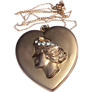 Art Nouveau Large 14 K Gold Filled Bates & Bacon Rhinestone Heart Shaped Double Photo Locket Necklace