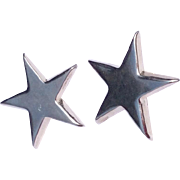 Vintage Sterling Silver Five Point Star Clip Earrings