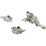 Vintage Dancraft Sterling Silver Leaf Brooch & Earrings
