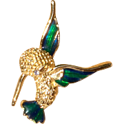 Vintage Yellow Gold Over Sterling Silver Enameled JC Ferrara Humming Bird In Flight Brooch