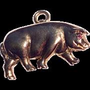 Vintage Gold Over Sterling Silver Pig Pendant