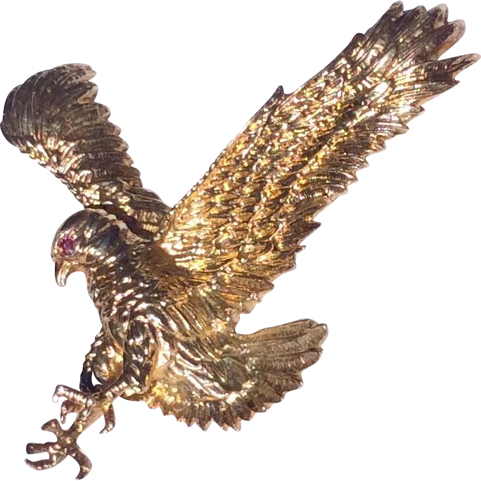 Vintage Yellow Gold Over Sterling Silver 3 D JC Ferrara Textured Flying Bald Eagle Pendant