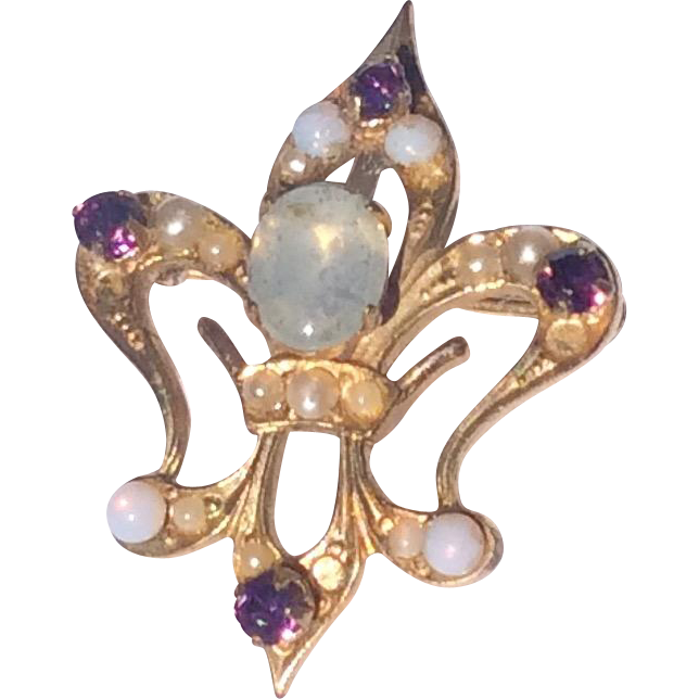 Vintage Gold Filled Opal Pearl & Amethyst Fleur de Lis Brooch