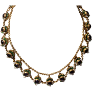 Art Deco Max Neiger Brass Czech Glass Necklace