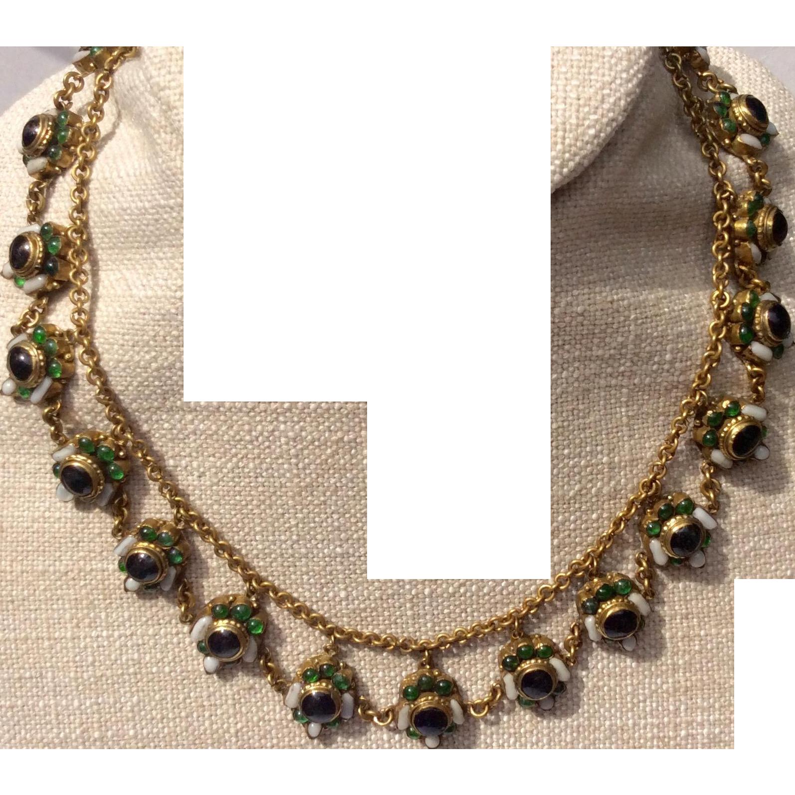 Art Deco Max Neiger Brass Czech Glass Necklace