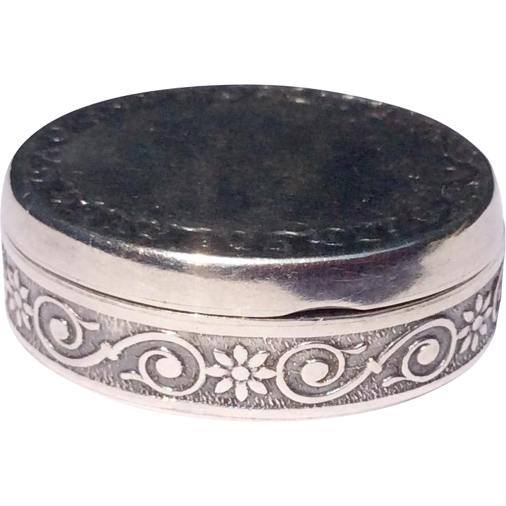 Vintage Sterling Silver Oval Pill Or Ring Box