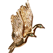 Vintage Yellow Gold Over Sterling Silver JC Ferrara Detailed Ducks In Flight Brooch