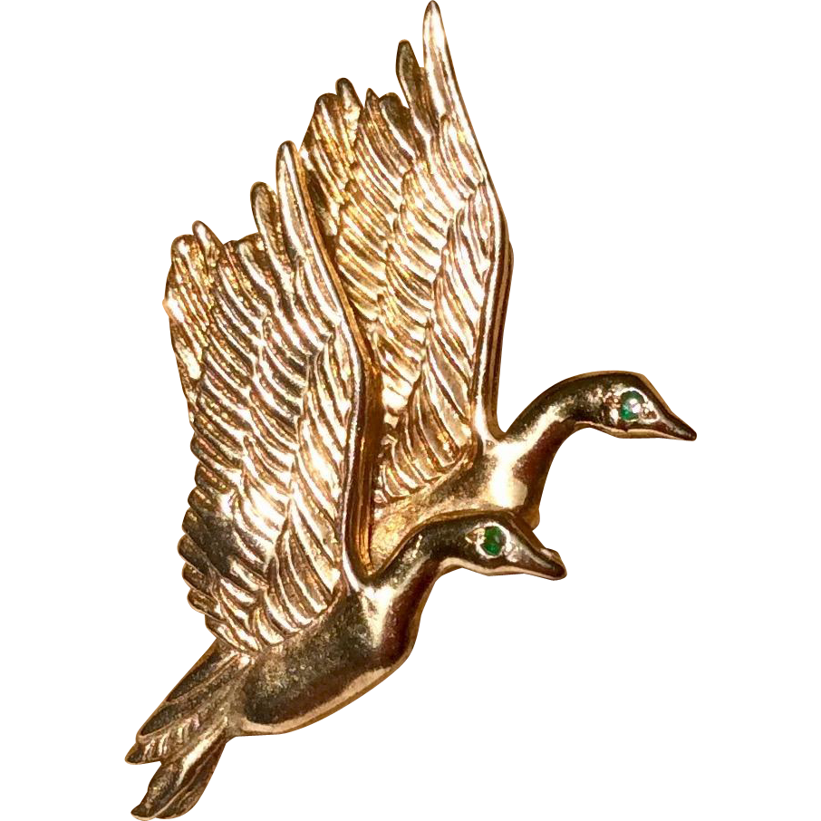 Vintage Yellow Gold Over Sterling Silver JC Ferrara Detailed Ducks In Flight Brooch
