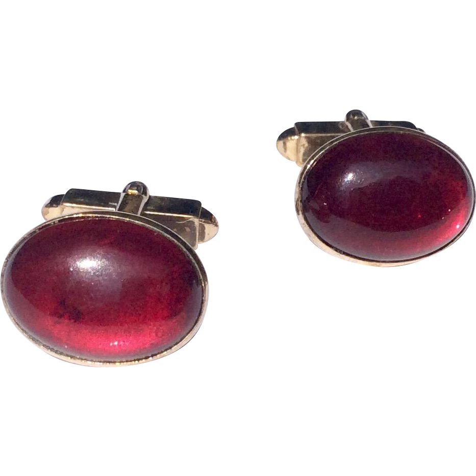 Vintage Gold Tone Metal Ruby Red Glass Cabochon Cuff Links/Cufflinks