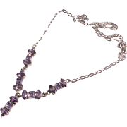 Vintage Sterling Silver Amethyst Gemstone Dangle Necklace