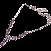 Vintage Sterling Silver Amethyst Gemstone Dangly Necklace