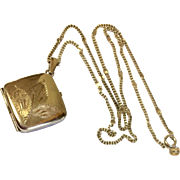 Vintage Sterling Silver Hand Etched Double Photo Locket & Chain