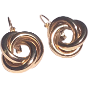 Vintage Gold Tone Metal Love Knot Earrings