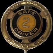Vintage 10 K Gold Filled Enameled  North Carolina School Bus Driver Service Pin
