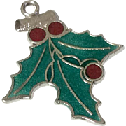 Vintage Sterling Silver Enamel Holly Leaf Christmas Charm