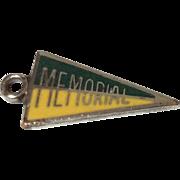 Vintage Sterling Silver Enamel Memorial Banner Charm