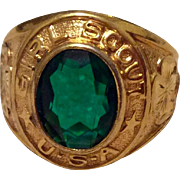 Vintage 10 K Gold Filled Emerald Green Rhinestone Cub Scout Ring