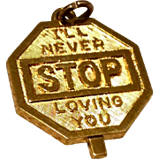 Vintage Gold Tone Metal I'll Never Stop Loving You Charm Or Pendant