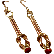 Vintage 1940's Handmade Upcycled Two Tone Gold Filled  Ruby Red Stone Sailors Knot Dangle Earrings