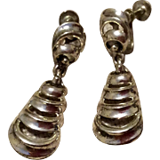 Vintage Jewel Art Sterling Silver Dangle Screw Back Earrings