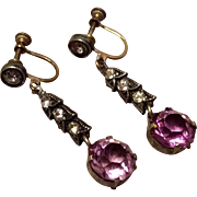 Antique Victorian Amethyst & Clear Paste Dangle Earrings