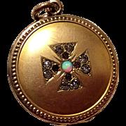 Victorian Gold Filled Opal Garnet & Clear Rhinestone Maltese Cross Locket