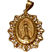 Vintage Gold Filled Catholic Miraculous Medal Pendant