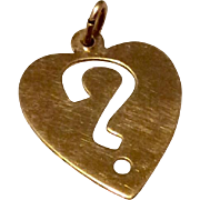 Vintage Silver Gilt Heart Shaped ? Mark Charm